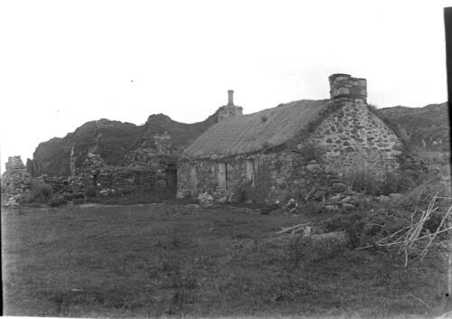[Old Ulva thatched cottage, above Loch Sween].