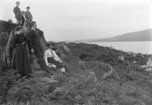 The Miller family and friends pause to look over Loch Sween from near Old Ulva.