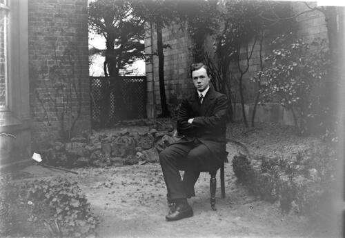 Fred C Miller in the garden at Cleveland Cottage, Isleworth.