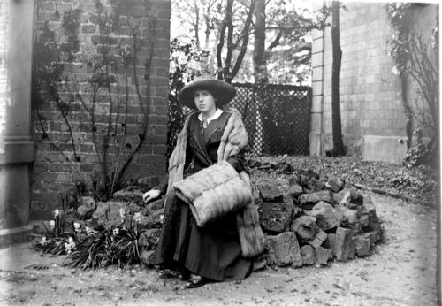 Ida J Miller in the garden at Cleveland Cottage, Isleworth.