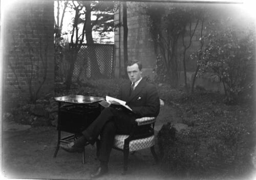 Fred C Miller [in the garden] at Cleveland Cottage, Isleworth.