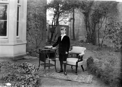 William H Miller [in the garden] at Cleveland Cottage, Isleworth.