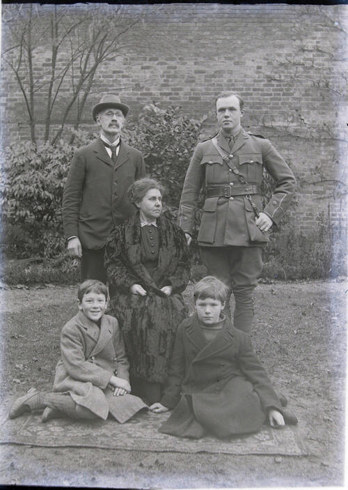 The Miller Family - after Ida's death [in the garden at Cleveland Cottage, Isleworth].