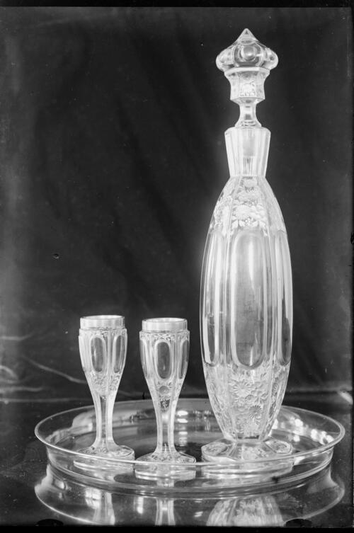 [Decanter and glasses on a tray, Cleveland Cottage, Isleworth].