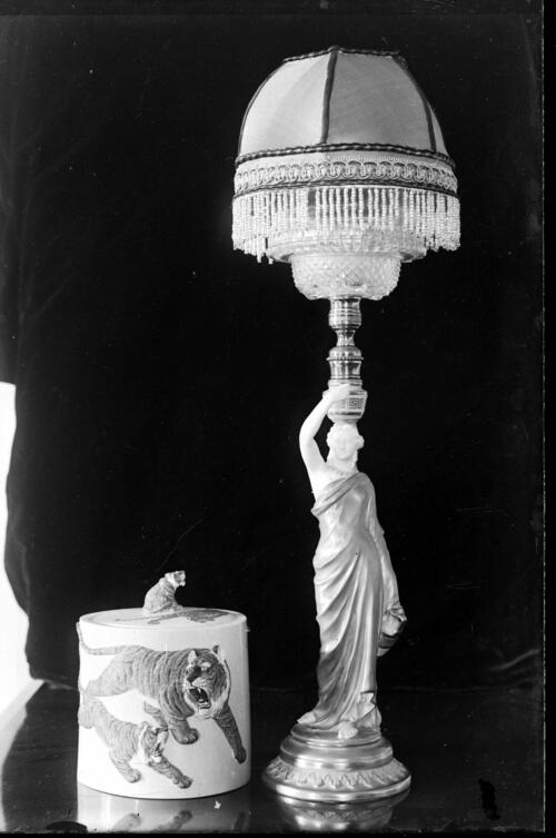 [Brass enamel statue lamp and lidded pot, Cleveland Cottage, Isleworth].