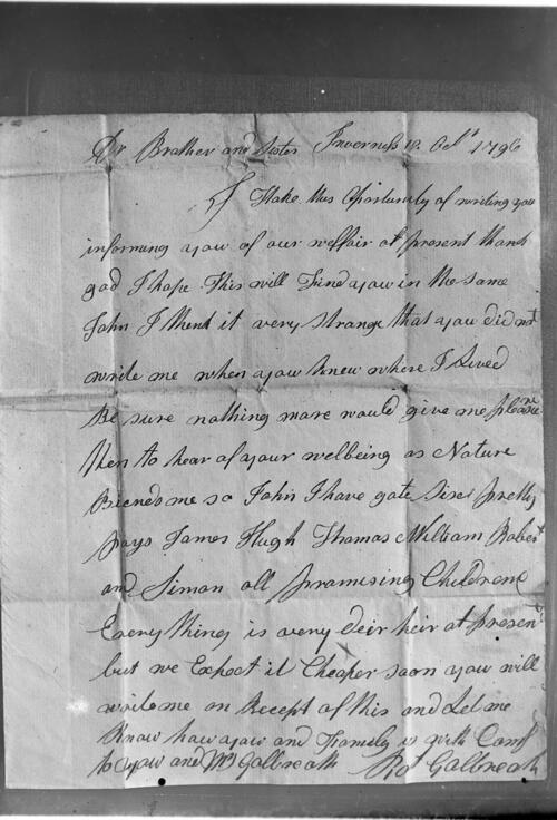 1796 letter from Robert Galbreath.