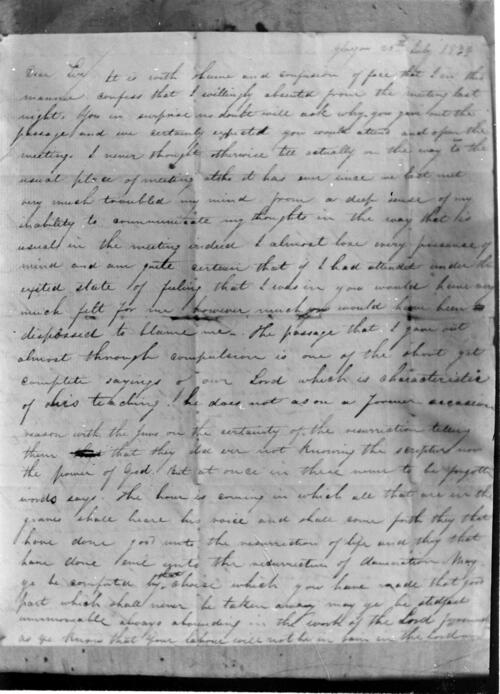 1833 letter from William Miller.