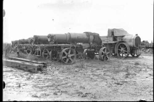 Guns loaded onto bogies awaiting transport.