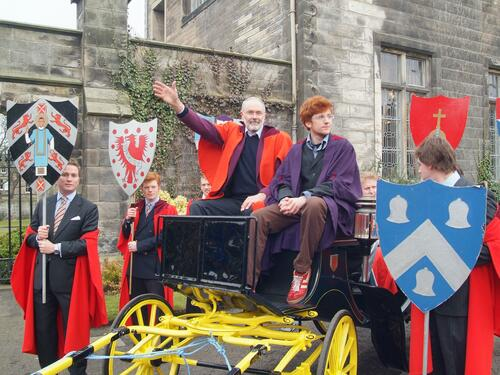 The new Rector, Mr Simon Pepper, and his proposer in the carriage at the start of the Drag, United College Quadrangle, University of St Andrews.