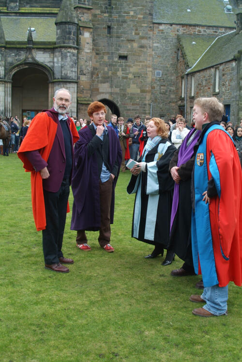 The new Rector, Mr Simon Pepper, and his proposer meeting the SRC, United College Quadrangle, University of St Andrews.