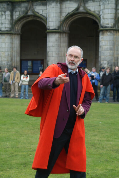 The new Rector, Mr Simon Pepper, addresses the students in the United College Quadrangle, University of St Andrews.