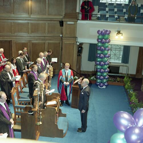 The new Rector, Mr Simon Pepper, takes the oath before the Vice-Chancellor of University of St Andrews, Younger Hall, St Andrews.
