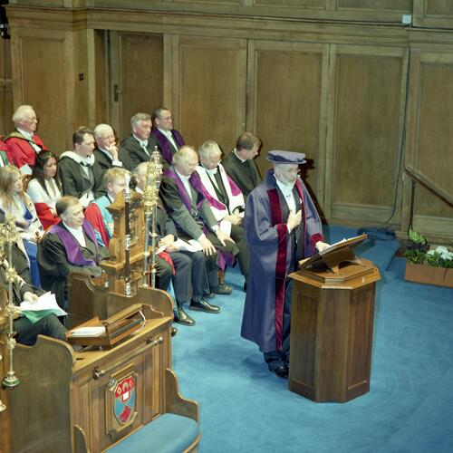 The new Rector, Mr Simon Pepper, gives his rectorial address to the University of St Andrews, Younger Hall, St Andrews.