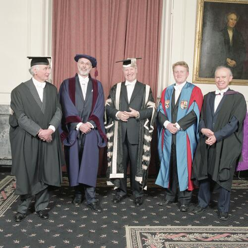 The new Rector, Mr Simon Pepper, Vice-Chancellor, President of the SRC and honorary graduands, University of St Andrews, Lower College Hall, St Andrews.