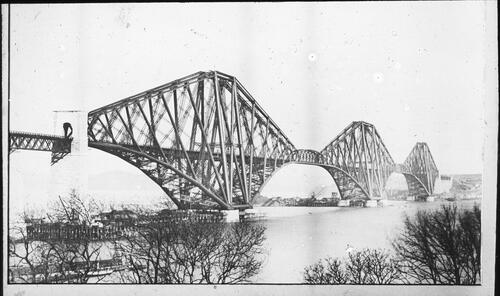 [Forth Rail Bridge under construction]