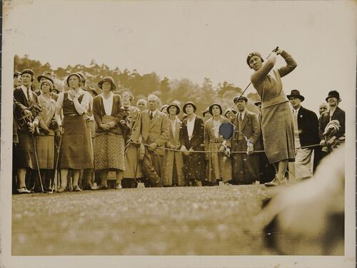 Miss Wanda Morgan, driving from the 5th tee