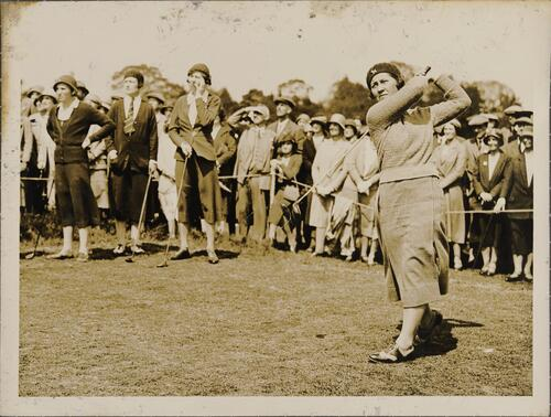 Miss Wanda Morgan, driving from the 1st tee