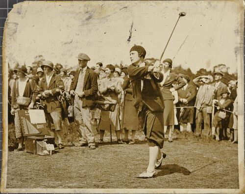 Miss Cecil Leitch, driving from the first tee