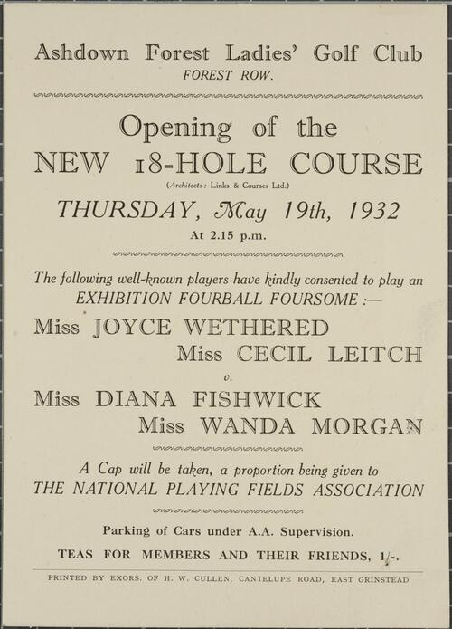 Colin Strachan Ashdown Forest Ladies' Golf Club Photographs Deposit