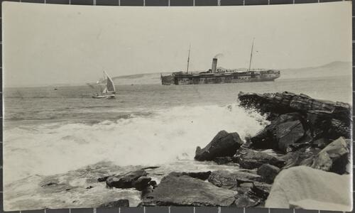 Talana Point and Passenger steamer leaving port