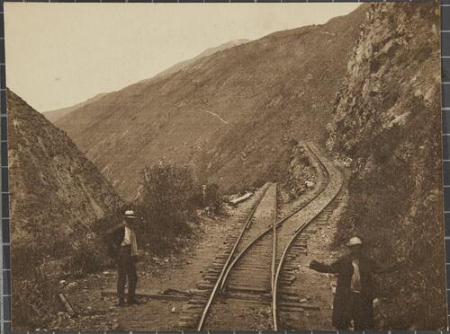 [A railway on a cliffside]