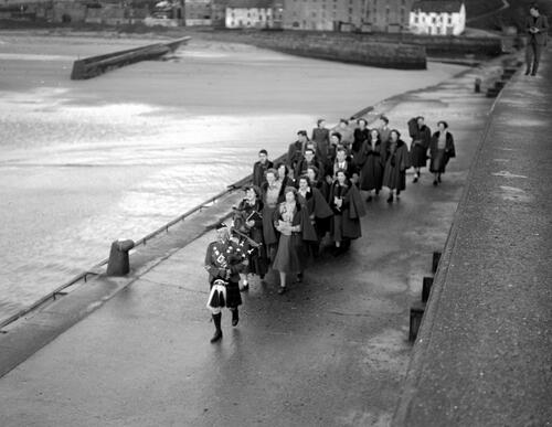 Madrigal singers on the Pier, St Andrews Harbour.