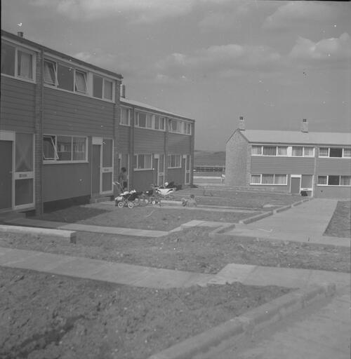 [East Kilbride - Westwood IX development, view of buildings with women with prams at entrance]