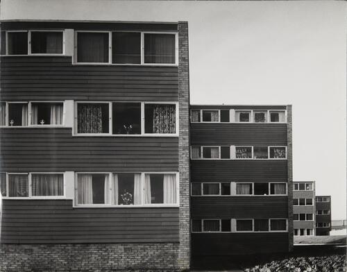 [East Kilbride - Westwood IX, four flat blocks seen in perspective]