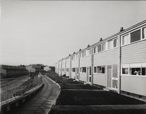 [East Kilbride, Westwood IX, row of two storey buildings alonside a footpath]