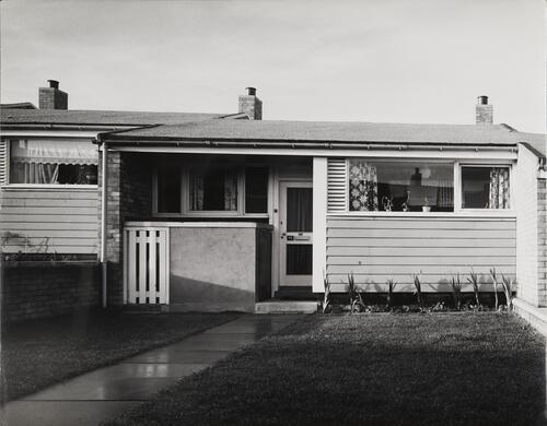 [East Kilbride, Westwood IX, detail of an elderly home with lawn and flower bed]