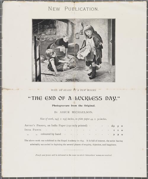 "Flyer for photogravure of ""The end of a Luckless Day"""