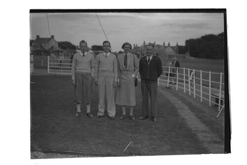 Hector Thomson, J McLean, Mrs Holm and a golfer at the Golf House Club, Elie.