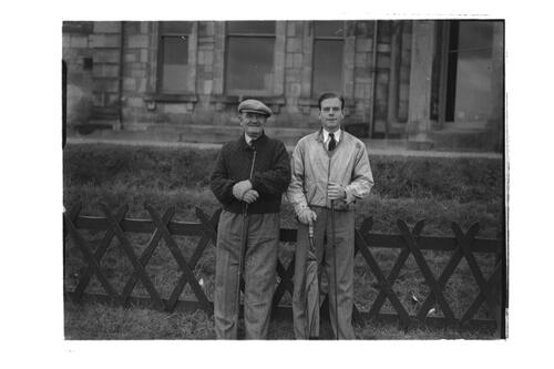 Sandy Herd and Hector Thomson before the Royal and Ancient Golf Clubhouse, St Andrews.