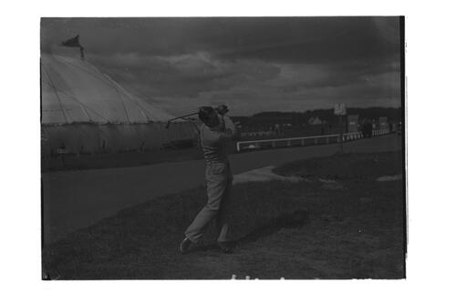 Hector Thomson practising, on the Old Course, St Andrews for the Amateur Golf Championship.