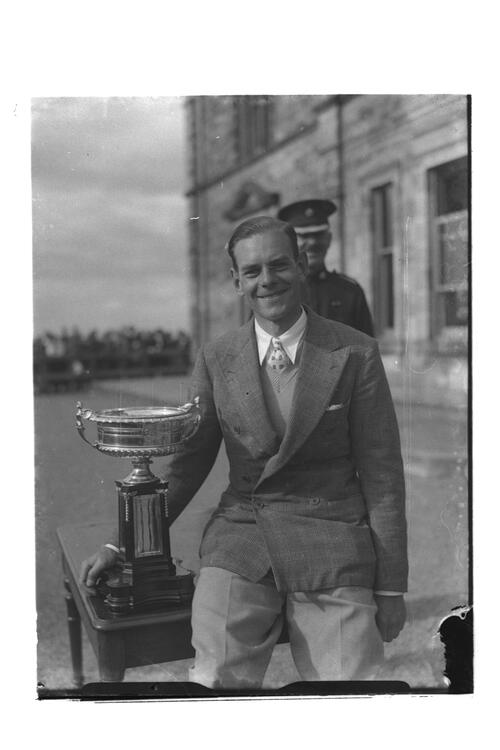 Hector Thomson with the Scottish Amateur Golf Trophy, St Andrews.
