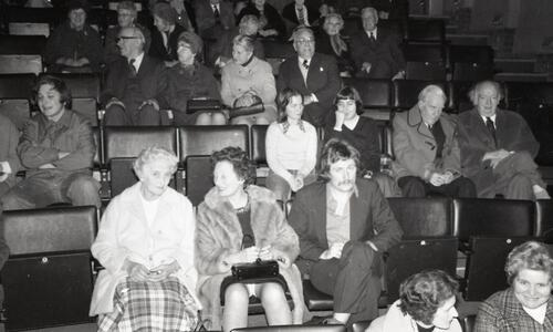 "The audience at John Cairney's performance of ""A Tribute to Burns"", at the Byre Theatre, St Andrews."
