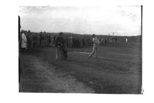 Hector Thomson playing in the Amateur Golf Championship, the Old Course, St Andrews.