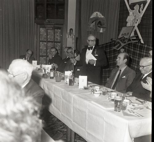 The President addresses the St Andrews Burns Club Supper, at McArthur's Cafe.