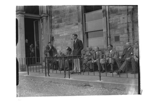 N Von Nida giving a speech outside the Royal and Ancient Golf Clubhouse, St Andrews.