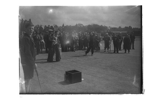 N Von Nida tees off watched by crowd, [?the 2nd Tee,] the Old Course, St Andrews.