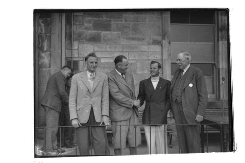 N Von Nida, Adams, Shankland and Rees, outside the Royal and Ancient Golf Clubhouse, St Andrews.