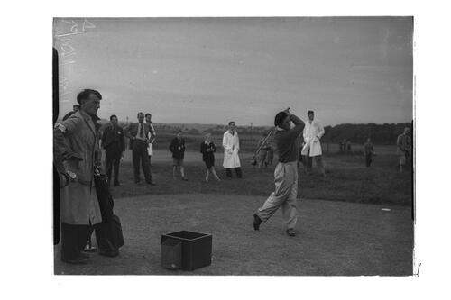 N Von Nida teeing off , the Old Course, St Andrews.