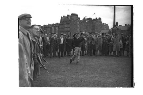 N Von Nida driving down the 1st Fairway, the Old Course, St Andrews.