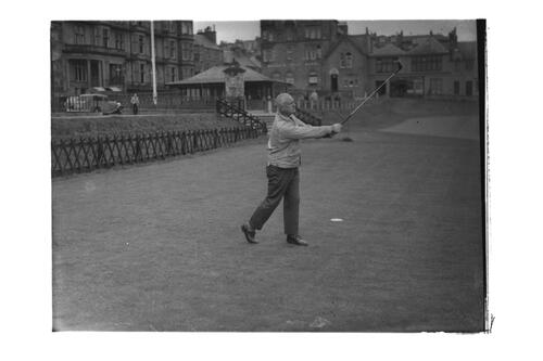 Lord Wavell teeing off at the 1st Tee, the Old Course, St Andrews.