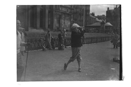 R Whitcombe teeing off at the 1st Tee, the Old Course, St Andrews.
