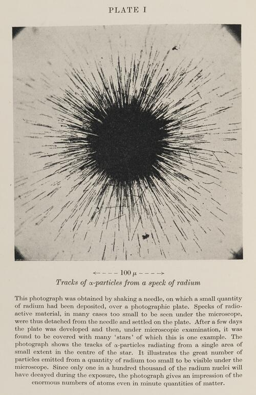 Tracks of alpha-particles from a speck of radium