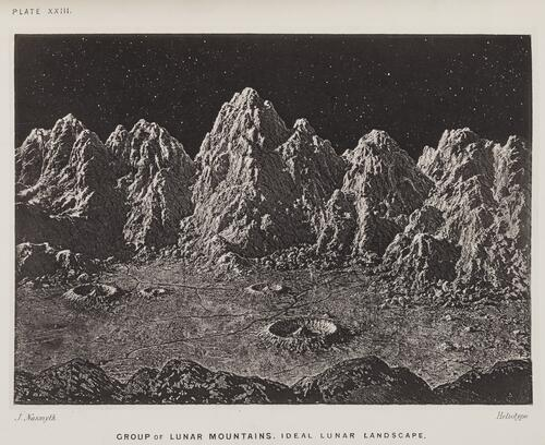 Group of Lunar mountains, ideal Lunar landscape.