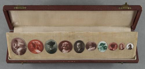 [Sample case of enamelled portraits in various tones]