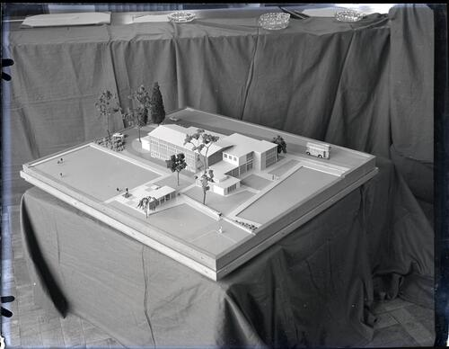 Rear and side view of the model of the Miners Institute, Glenrothes.