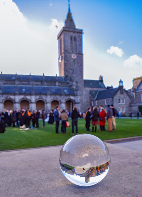 Lensball with Graduating students at the University of St Andrews